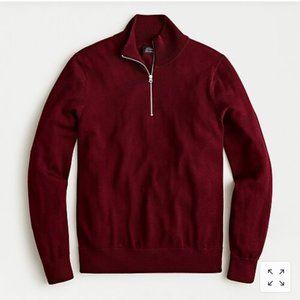 JCrew Half Zip Pullover Sweater In Red Merino Wool